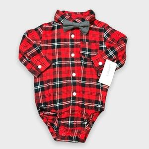🌟NWT Carter's Red Plaid Long Sleeve Onesie